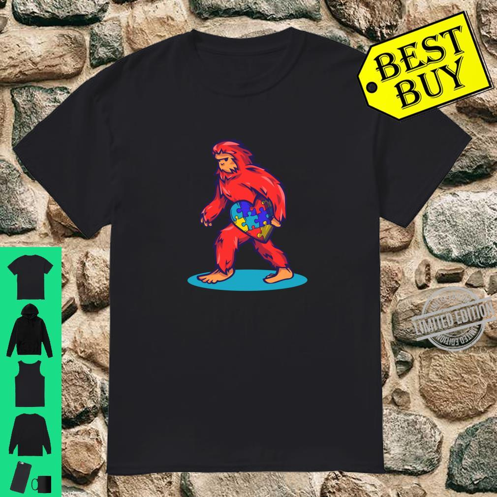 Bigfoot Heart Puzzle Piece Shirt Autism Awareness Boys Shirt