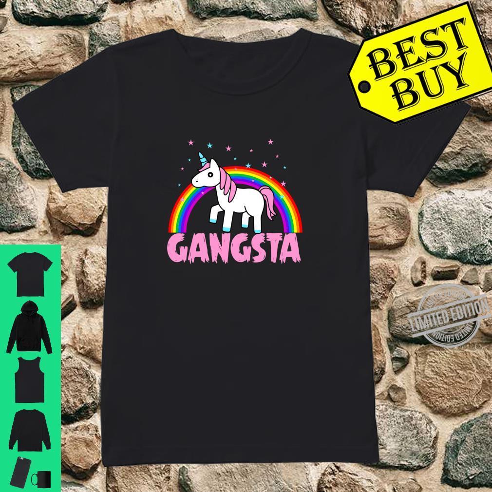 Einhorn Gangster Unicorn Lustig Regenbogen Geschenk Langarmshirt Shirt ladies tee