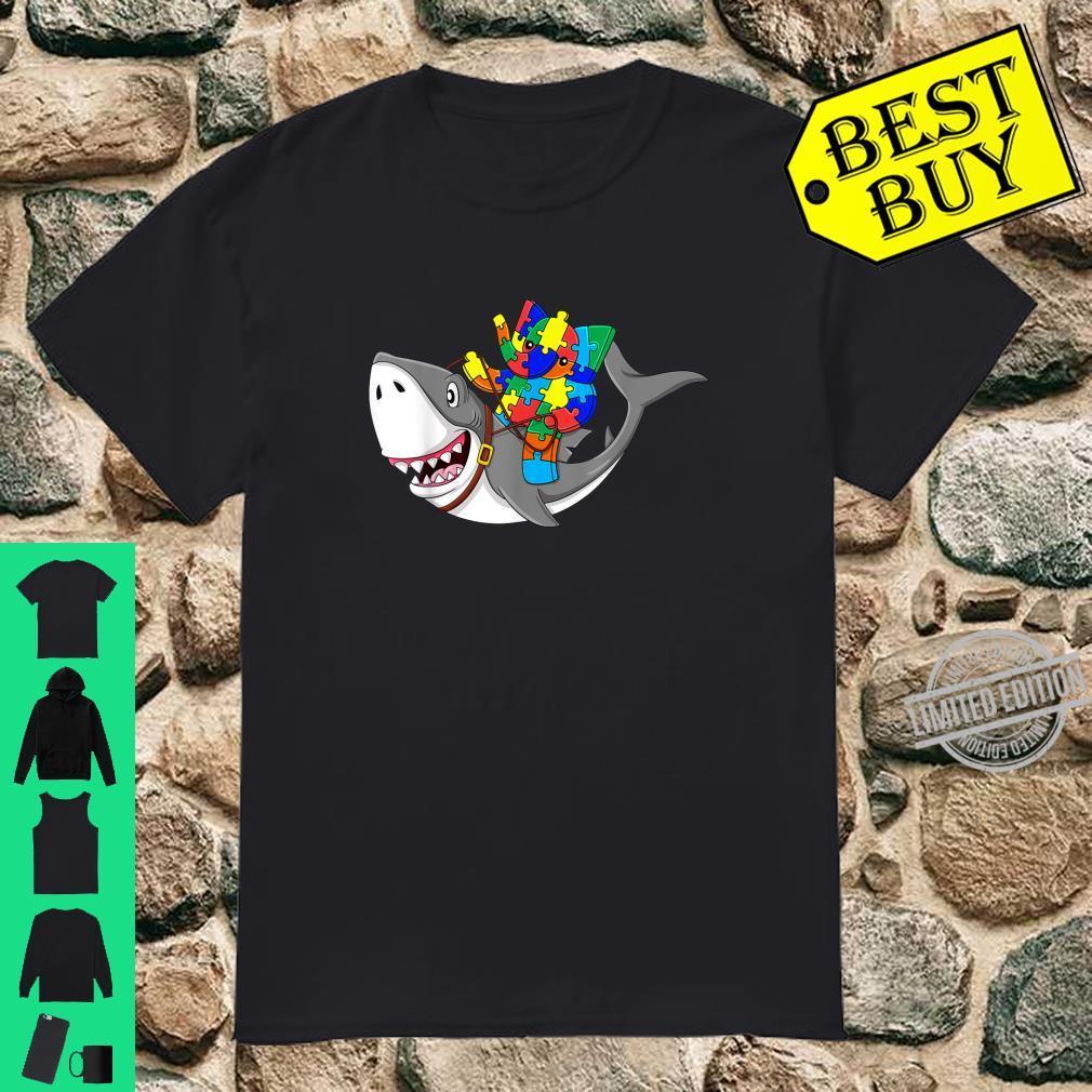 Elephant Riding Shark Autism Awareness Boys Girls Shirt