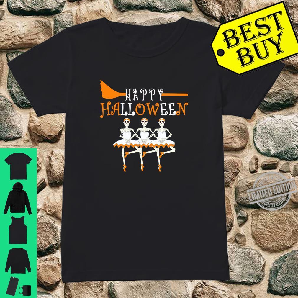 Happy Halloween Skeleton Ballerina Ballet Dancer Shirt ladies tee
