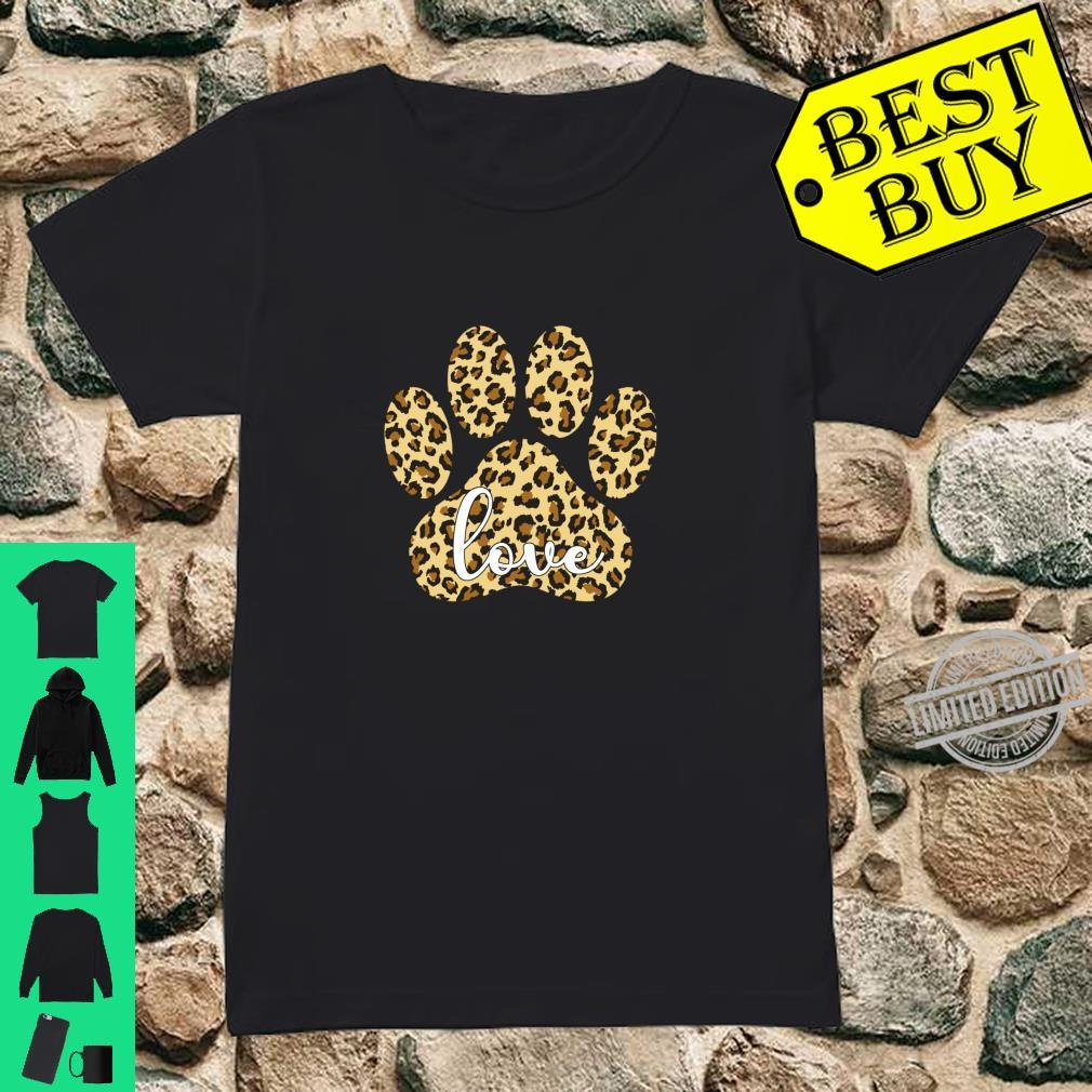 Love Dog Paw Print Leopard Cute Valentines Day Girls Shirt ladies tee