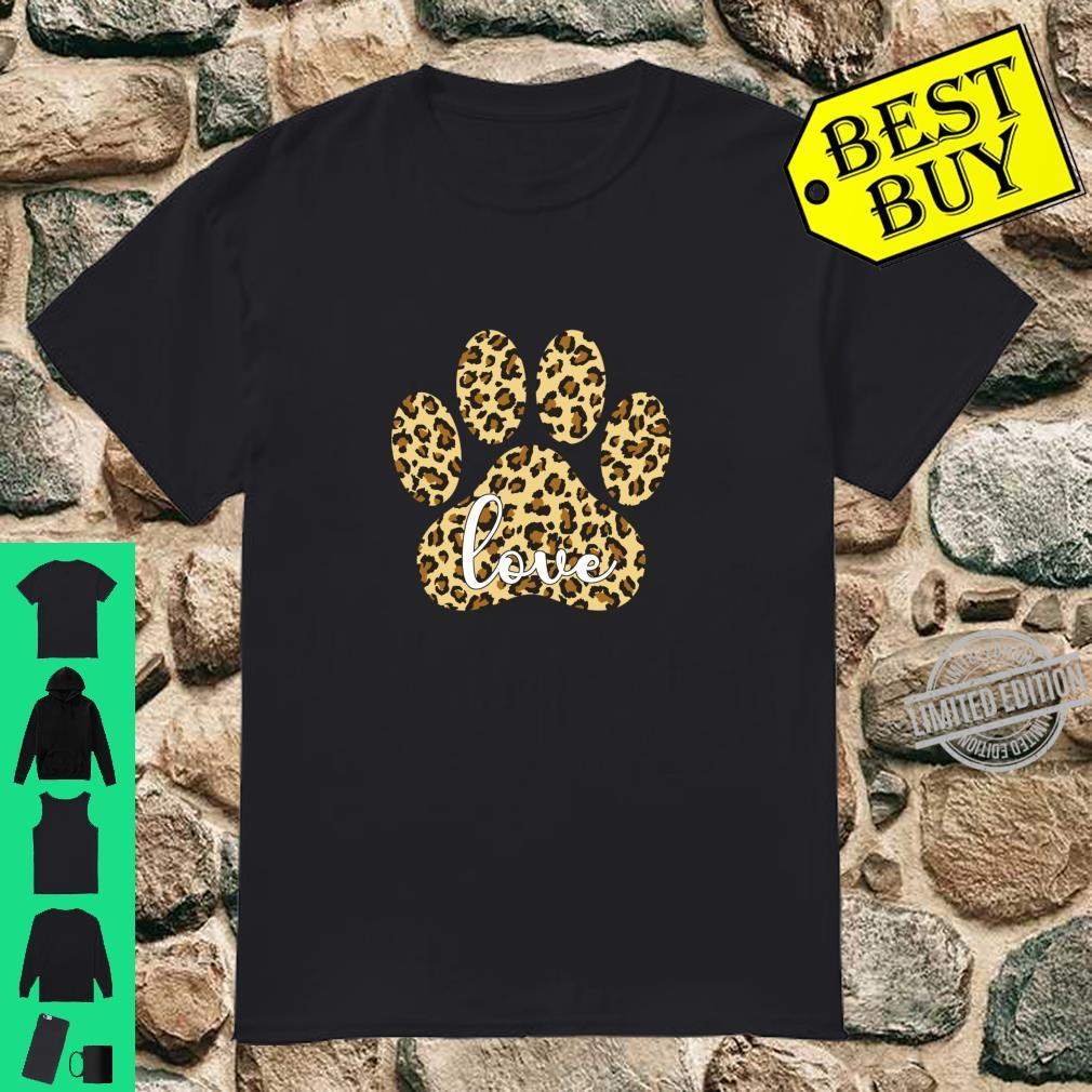 Love Dog Paw Print Leopard Cute Valentines Day Girls Shirt