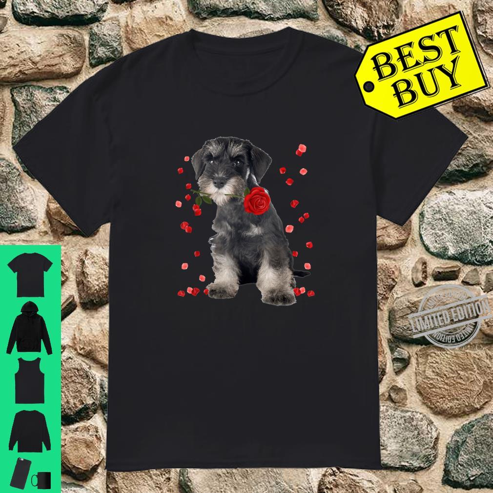 Miniature Schnauzer With Rose Falling Cute Valentine's Day Shirt