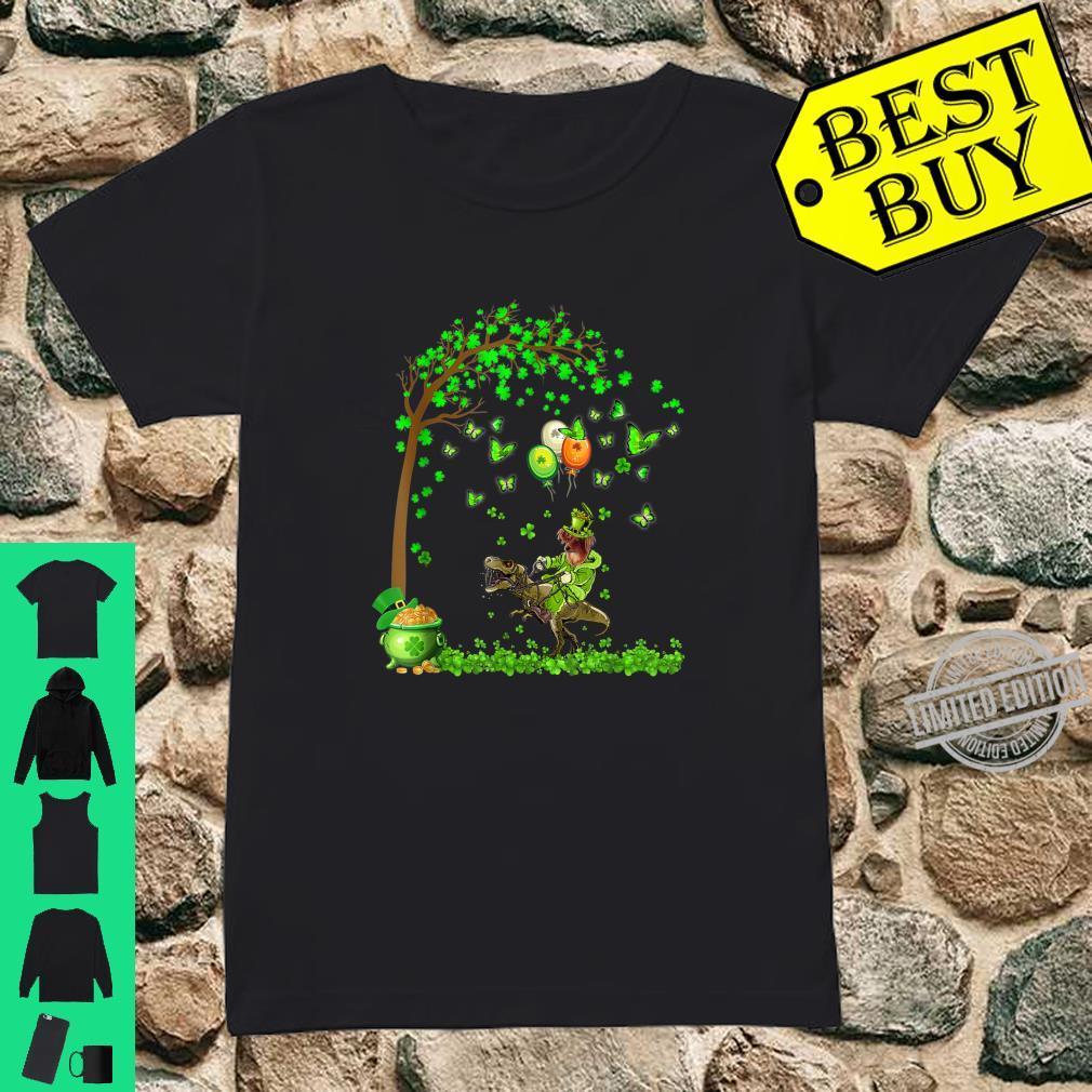 Papillon Riding Dinosaur Tree Patricks Day Shirt ladies tee